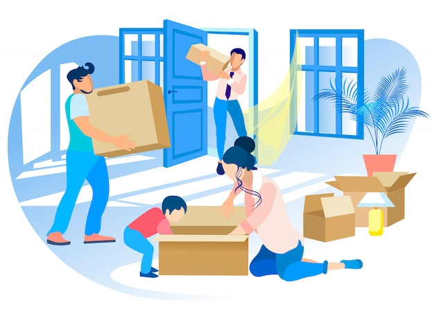 幸せな家族が新しい家に移動します。不動産。