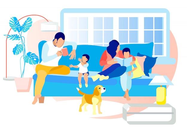 夜や週末に幸せな家族の余暇。