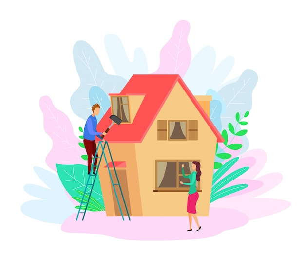 Человек, ремонт на крыше с плоским векторная иллюстрация