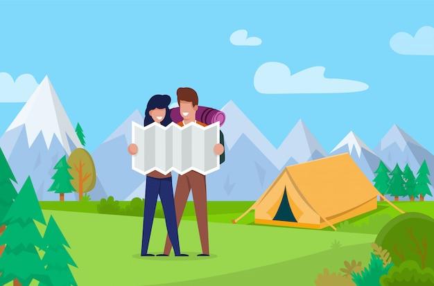 観光客は、風景の山々にオリエンテーションをマップします。
