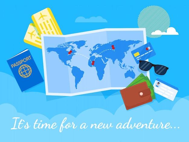 フラットベア冒険レタリングのための時間。