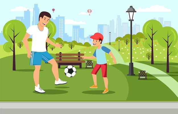 漫画父は公園で息子とサッカーをします。
