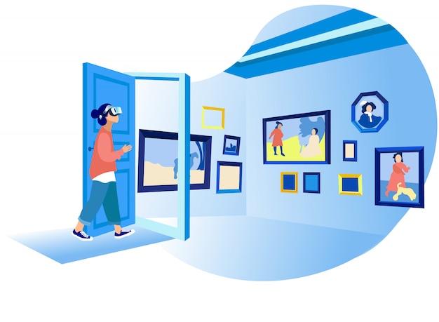 Женщина в виртуальной реальности смотрит на виртуальную художественную галерею красок