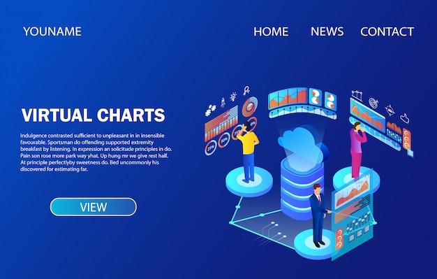 ランディングページのテンプレート。データ分析仮想チャートを扱う人々