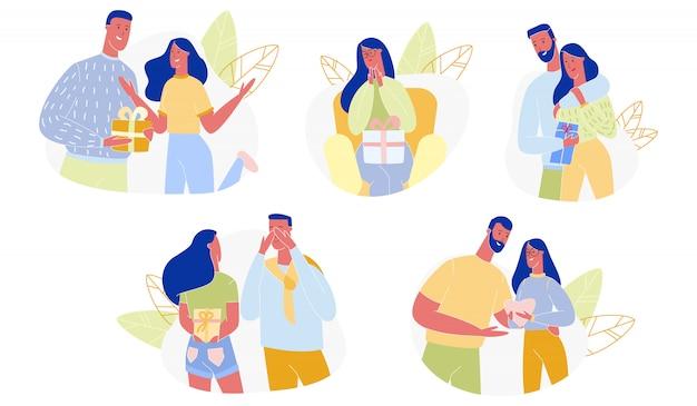 Влюбленная пара, представляя подарки набор. люди мультфильм