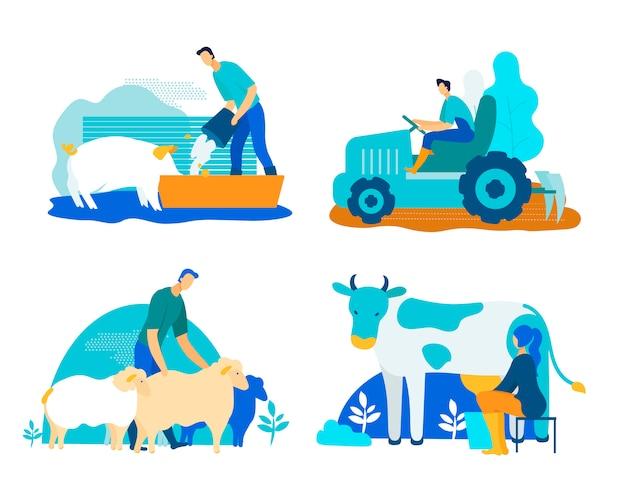 豚、牛、羊漫画フラット農場セット。