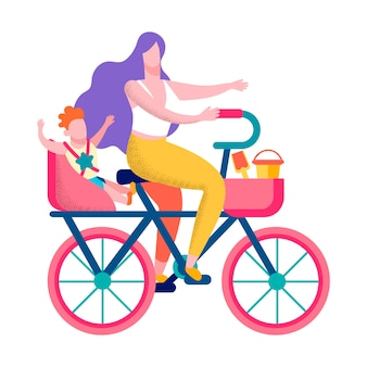 幸せな息子母サイクリング健康的なバナーをやる気にさせる
