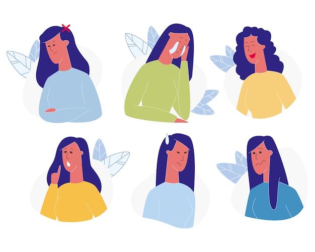 女性の感情セット。女性絵文字、表情