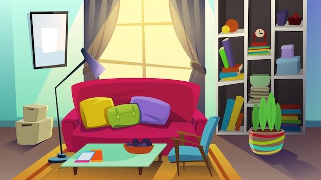 Уютный интерьер гостиной с диваном и книжным шкафом