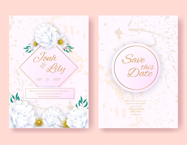結婚式招待状の花のかわいいカードデザインセット。