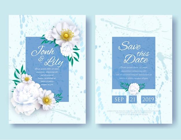 結婚式の招待状フレームテンプレートセット。白牡丹とアネモネの花と緑の葉、自然アートとランダムな塊、花とハーブの花輪を背景にします。ベクトルイラスト