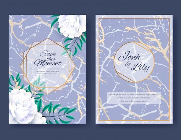 Набор карт с белыми цветами пиона и листьями на фиолетовом мраморном фоне. элегантный свадебный орнамент, цветочный постер, инвайт. декоративный дизайн фона приветствие или приглашение. векторная иллюстрация