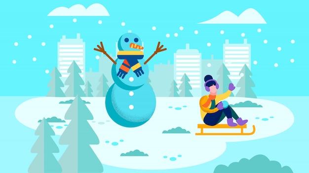 冬の外で過ごす幸せな女の子