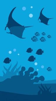 Подводный мир баннер плоский морской пейзаж панорама