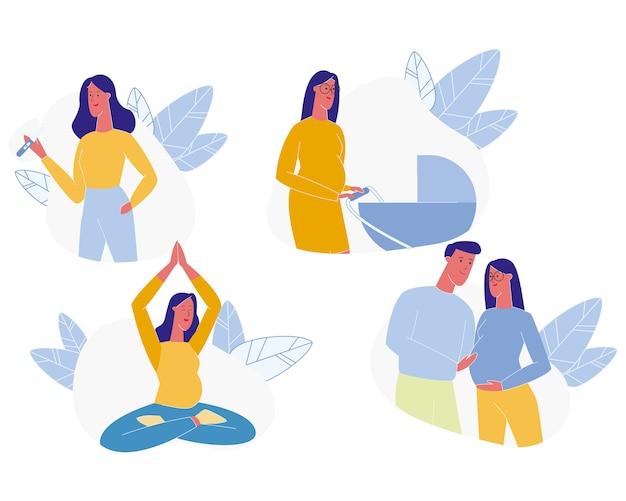 若い女性の妊娠セット、マタニティ、幸せな家族