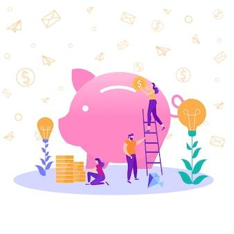 ビジネスアイデア投資チームワークのメタファーイラスト