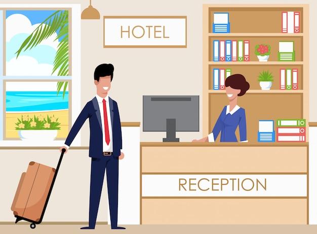 Стойка регистрации отеля вмещает гостей, мультфильм.