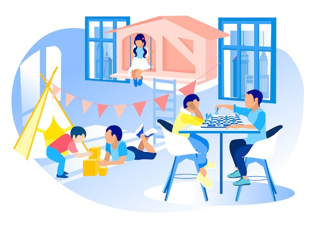 モダンな幼稚園の多様な子供たちのプロモーションイラスト