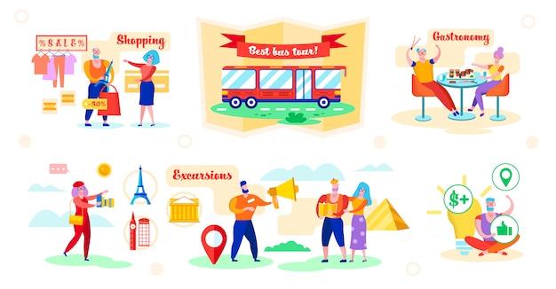 Установите преимущества лучший автобусный тур векторные иллюстрации.
