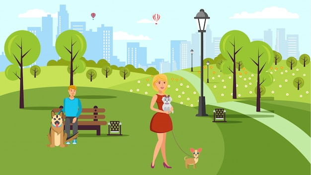 犬愛好家の散歩ベクトルカラーフラットイラスト