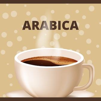 Чашка кофе с паром. арабика натуральная. векторная иллюстрация