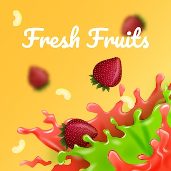Яблоко и клубника в цветном соке. векторные иллюстрации фруктовый наполнитель. свежие мульти фрукты.