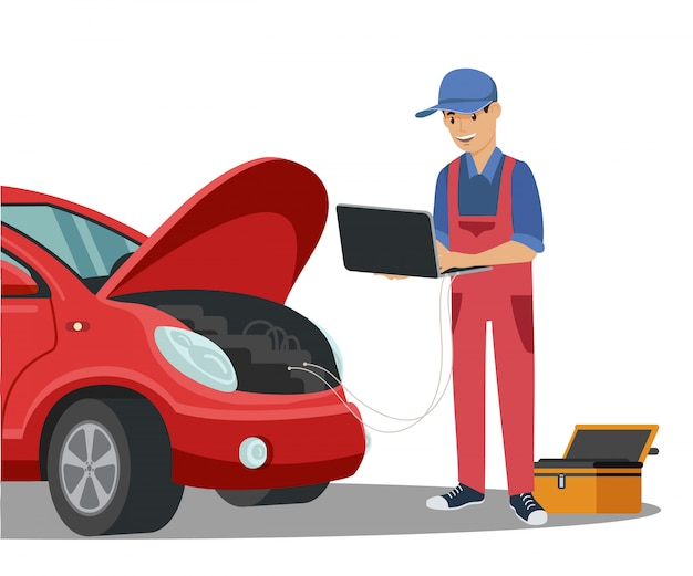 メカニックがコンピューター診断をしている赤い車。制服を着た男。サービスステーション。