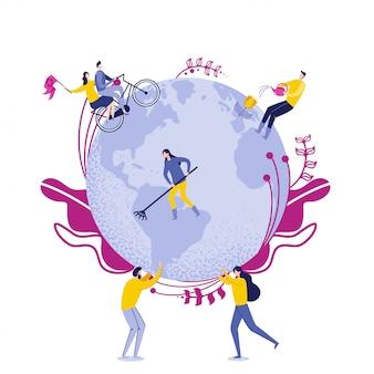 Люди держат земной шар с рабочими, заботящимися о земле.