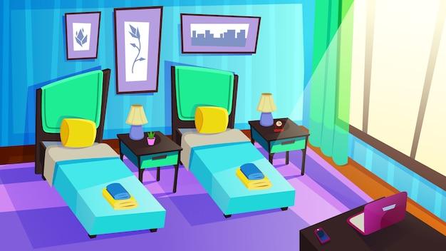 高級リゾートホテルの部屋のインテリア。日当たりの良い寝室