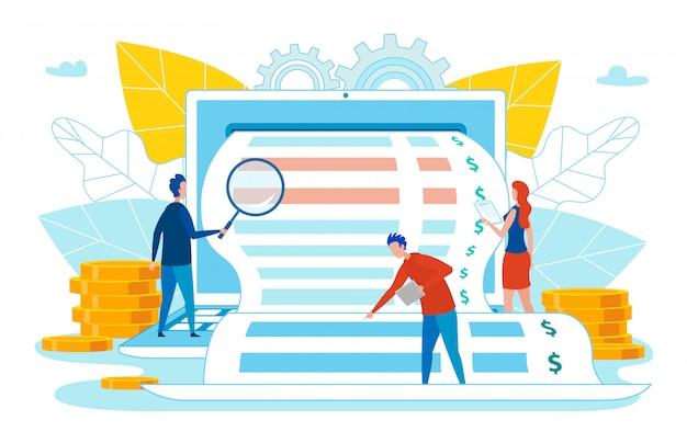 ビジネスの領収書を調査またはチェックする人々。