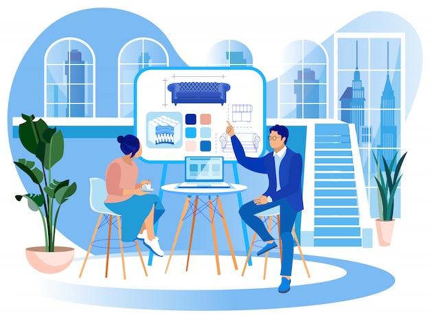 Женщина и мужчина изучать диван внутри в офисе.