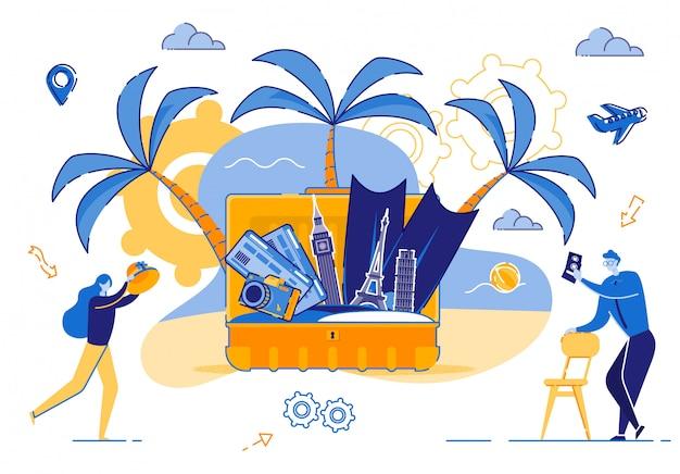 若いカップルが夏の旅行にスーツケースを収集します