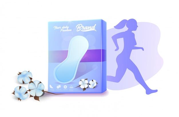 アクティブな女性の広告バナーのための毎日のパッド