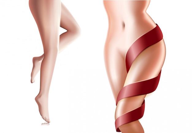 若い女性の完璧なスリム健康的な体と脚