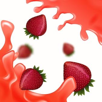 白地に赤いジュースと赤いイチゴ
