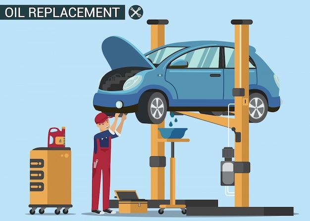 男労働者は車の中でオイルを交換します。