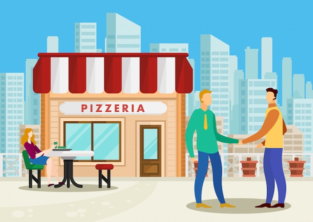 Встреча бизнесменов пиццерия.