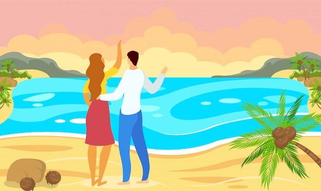 男と女の背景海に夕日を見ています。