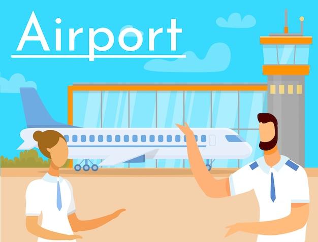 Мужчина и женщина на заднем плане аэропорт и самолет