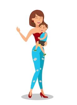 子供フラットを持つ若い母親