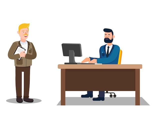 Руководитель и подчиненный общаются в офисе.