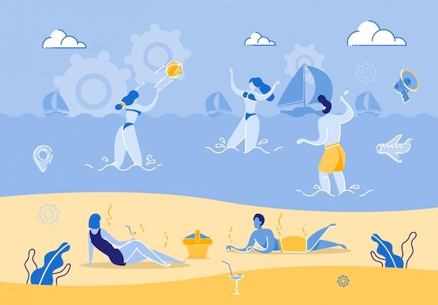暑い夏の日のビーチでリラックスしたグループの人々