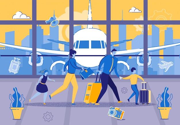若い家族は空港での飛行のために急いでいます