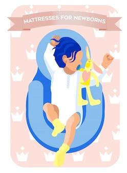 Матрацы для новорожденных. маленький ребенок спит.