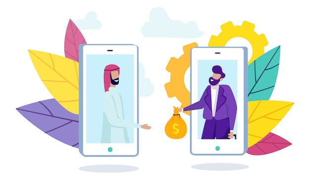 男のアラブ人とスマートフォンの画面上の銀行の従業員。