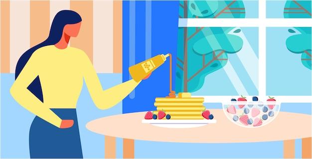 Мультфильм женщина приготовления блинов на кухне дома
