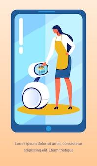 キッチンでの広告テキストチラシ促進ロボットヘルパー