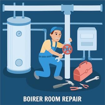 ボイラー室修理