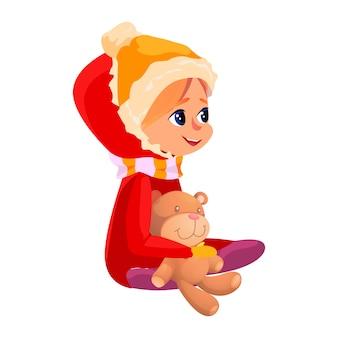 Зимний сезон активность мультфильм девочка игрушка мишка