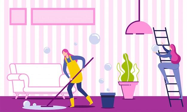 女性家政婦の清掃と洗浄の床。